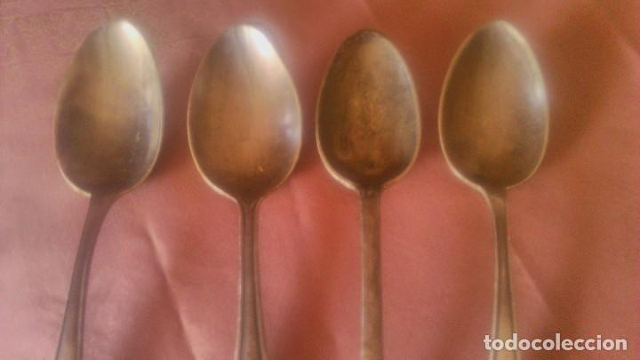 Antigüedades: Lote de 4 cucharas soperas bañadas en plata. - Foto 2 - 78047645