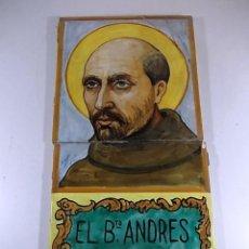 Antigüedades: PAR DE AZULEJOS CON LA FIGURA EL B ANDRES HIBERNON. Lote 78063969