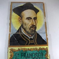 Antigüedades: PAR DE AZULEJOS CON LA FIGURA DE SAN FRANCISCO DE BORJA. MANISES. Lote 78064249