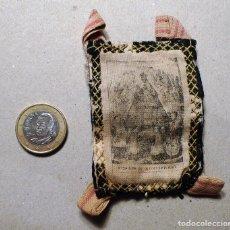 Antigüedades: ANTIGUO ESCAPULARIO DE TAMAÑO MEDIO PARTE POSTERIOR CRUZADO.. Lote 78141661