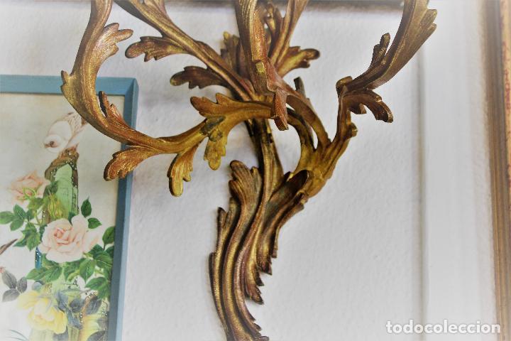 Antigüedades: PAR PAREJA DE CANDELABROS EN BRONCE DORADO apliques - Foto 4 - 78141945