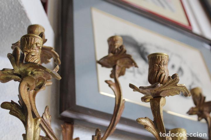 Antigüedades: PAR PAREJA DE CANDELABROS EN BRONCE DORADO apliques - Foto 6 - 78141945