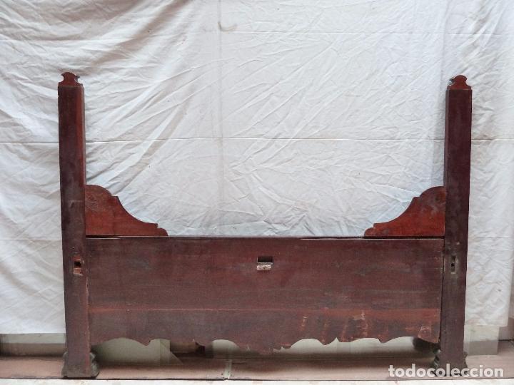 Antigüedades: CAMA ISABELINA DE CAOBA CON COPETE - DITADA - CABECERO Y PIECERO - ANCHO 150 CM - Foto 5 - 78153221