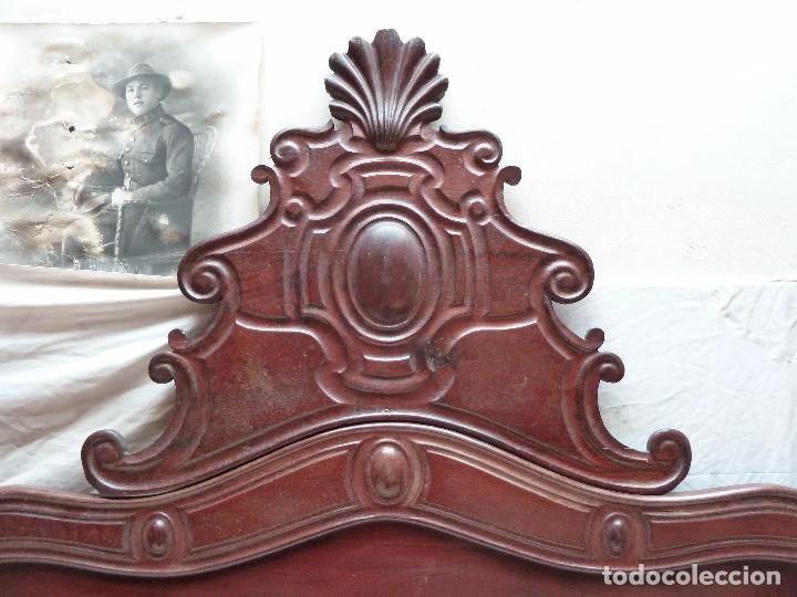 Antigüedades: CAMA ISABELINA DE CAOBA CON COPETE - DITADA - CABECERO Y PIECERO - ANCHO 150 CM - Foto 9 - 78153221
