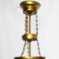 Antigüedades: ELEGANTISIMA RESTAURADA LAMPARA ANTIGUA LATON DORADO Y CRISTAL IMPERIO CIRCA 1900. Lote 78182109