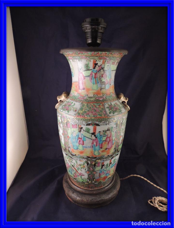 MAGNIFICO JARRON LAMPARA PORCELANA CANTON SIGLO XVIII (Antigüedades - Porcelanas y Cerámicas - China)