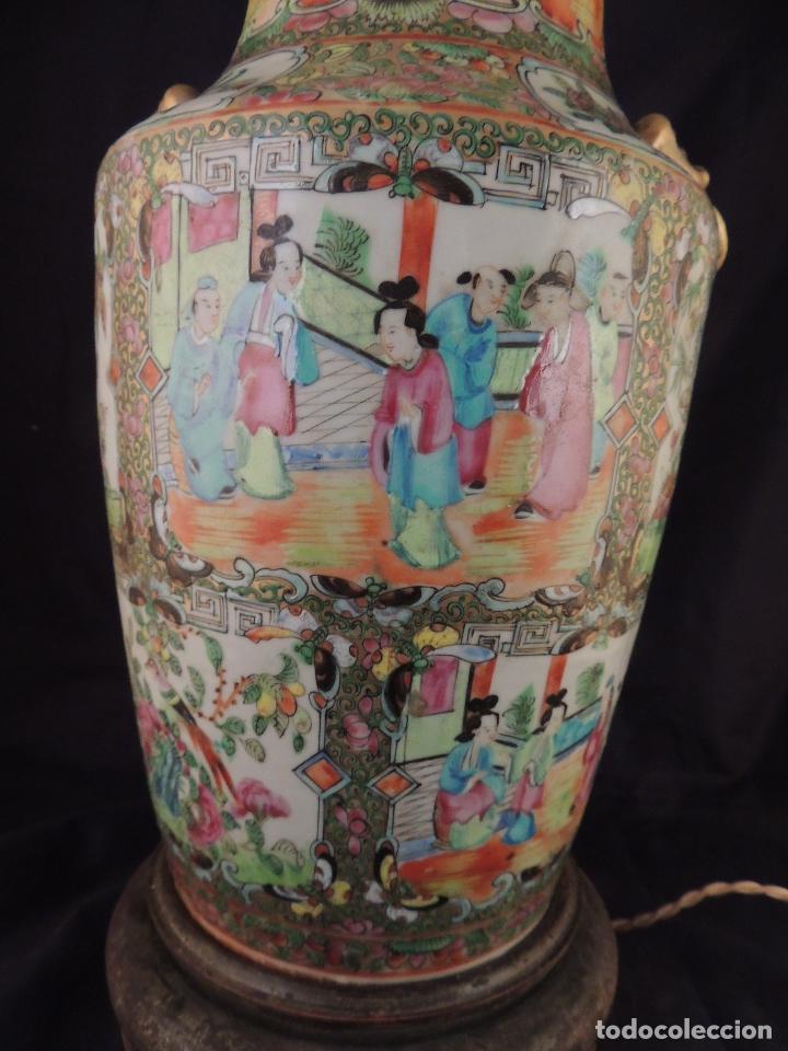 Antigüedades: MAGNIFICO JARRON LAMPARA PORCELANA CANTON SIGLO XVIII - Foto 2 - 78185489