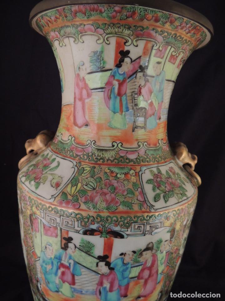 Antigüedades: MAGNIFICO JARRON LAMPARA PORCELANA CANTON SIGLO XVIII - Foto 3 - 78185489
