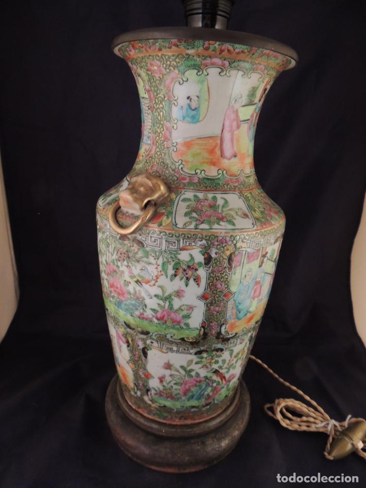 Antigüedades: MAGNIFICO JARRON LAMPARA PORCELANA CANTON SIGLO XVIII - Foto 4 - 78185489