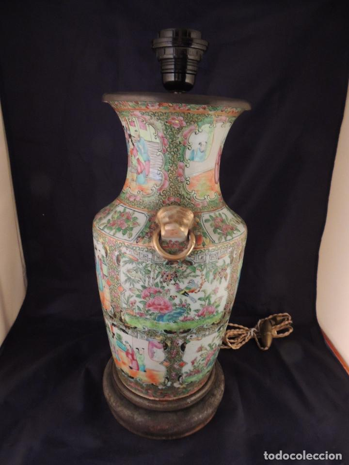 Antigüedades: MAGNIFICO JARRON LAMPARA PORCELANA CANTON SIGLO XVIII - Foto 5 - 78185489