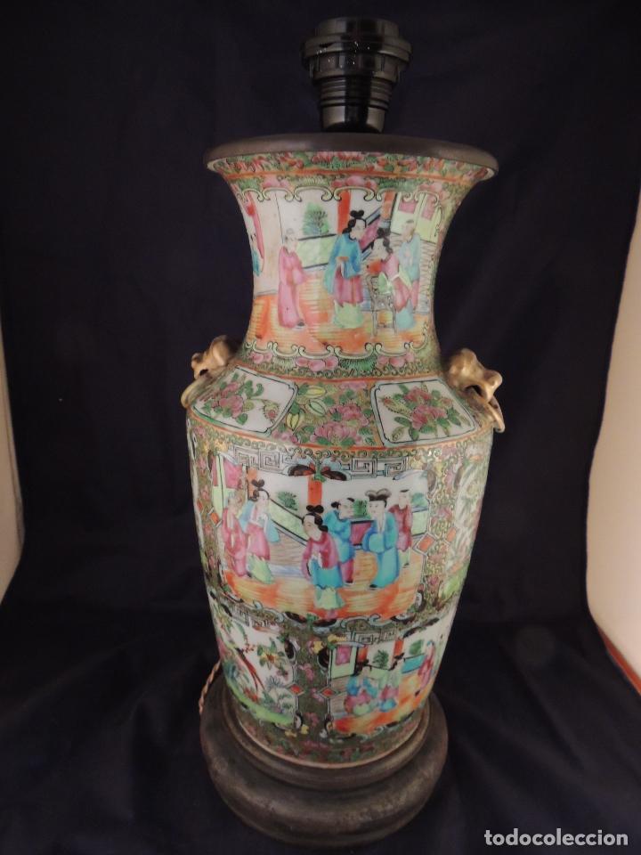 Antigüedades: MAGNIFICO JARRON LAMPARA PORCELANA CANTON SIGLO XVIII - Foto 6 - 78185489