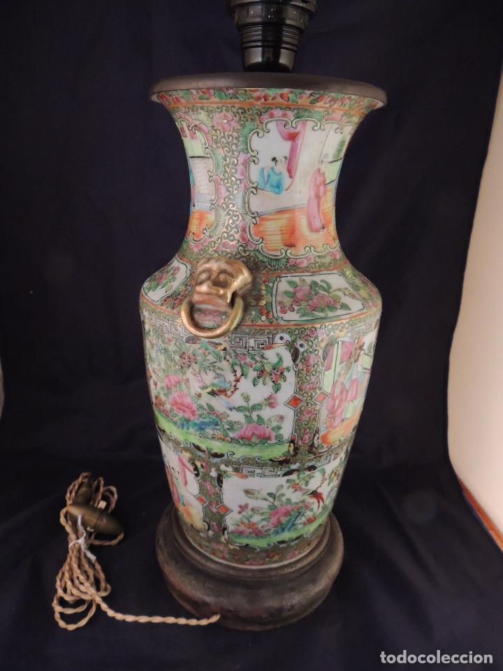 Antigüedades: MAGNIFICO JARRON LAMPARA PORCELANA CANTON SIGLO XVIII - Foto 7 - 78185489