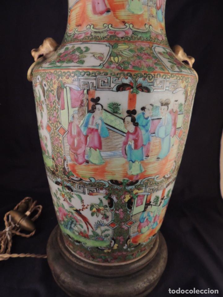 Antigüedades: MAGNIFICO JARRON LAMPARA PORCELANA CANTON SIGLO XVIII - Foto 8 - 78185489