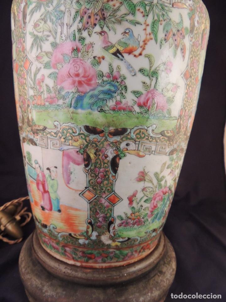 Antigüedades: MAGNIFICO JARRON LAMPARA PORCELANA CANTON SIGLO XVIII - Foto 10 - 78185489