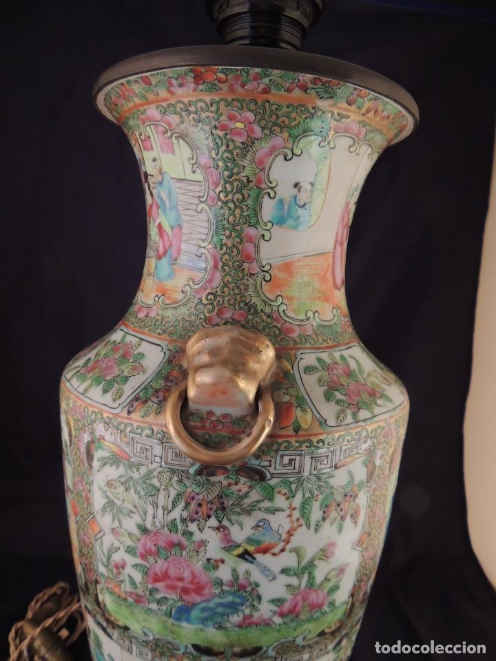 Antigüedades: MAGNIFICO JARRON LAMPARA PORCELANA CANTON SIGLO XVIII - Foto 11 - 78185489