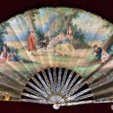 Antigüedades: ABANICO. NÁCAR TALLADO, CALADO Y DORADO. PAPEL PINTADO. FRANCIA. CIRCA 1800. Lote 78211277