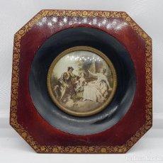Antigüedades: MARCO ANTIGUO EN MADERA Y CRISTAL CON LITOGRAFÍA. Lote 78212277