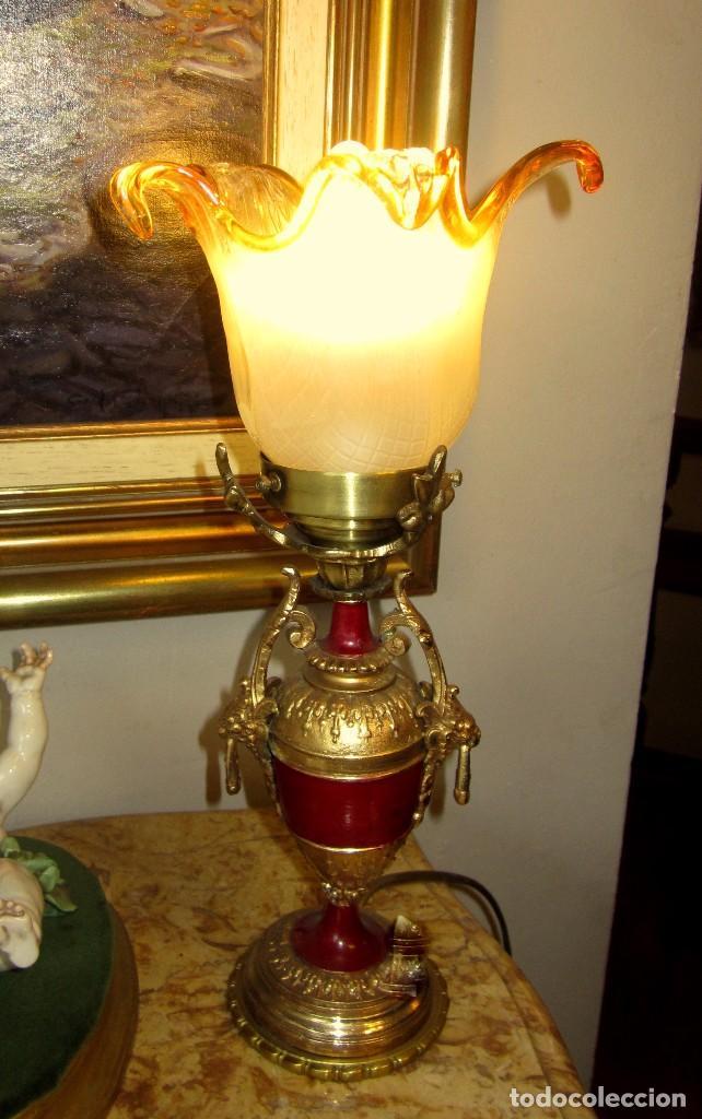 PRECIOSA LAMPARA CON TULIPA DE MURANO (Antigüedades - Iluminación - Lámparas Antiguas)
