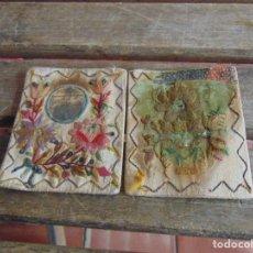 Antigüedades: ANTIGUO ESCAPULARIO BORDADO Y DECORADO VIRGEN DEL CARMEN FALTAS EN TELA. Lote 78236205