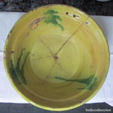 Antigüedades: BONITO LEBRILLO DE BARRO LAÑADO.. Lote 78348881