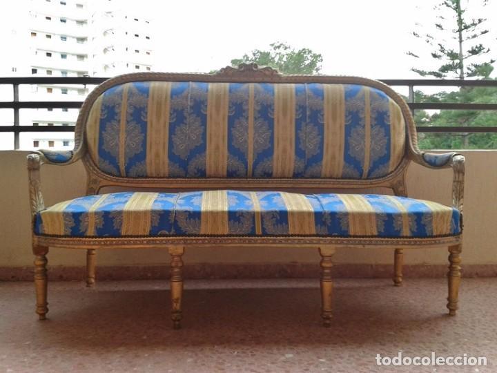 Antigüedades: Sofá antiguo estilo Luis XVI. Sofá antiguo vintage dorado estilo isabelino. Canapé Tresillo antiguo. - Foto 2 - 78382389