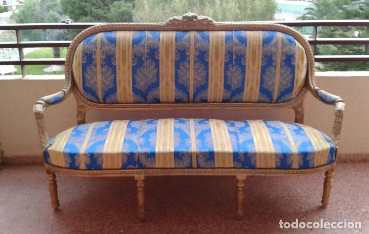 Antigüedades: Sofá antiguo estilo Luis XVI. Sofá antiguo vintage dorado estilo isabelino. Canapé Tresillo antiguo. - Foto 3 - 78382389