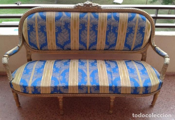 Antigüedades: Sofá antiguo estilo Luis XVI. Sofá antiguo vintage dorado estilo isabelino. Canapé Tresillo antiguo. - Foto 4 - 78382389