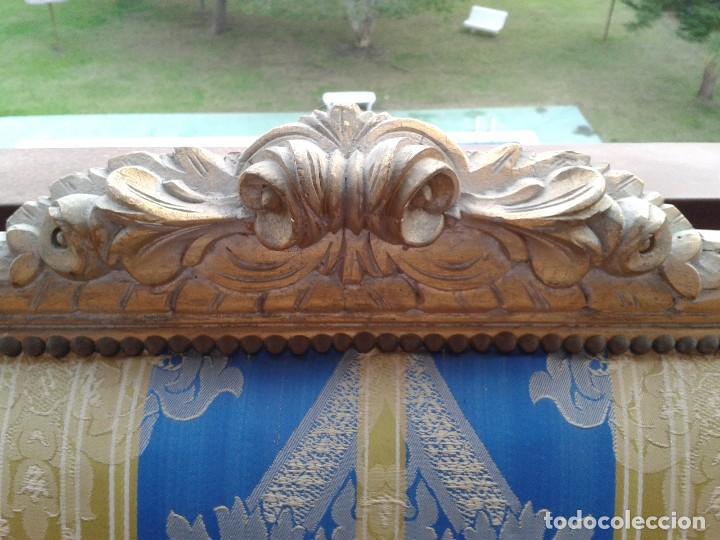 Antigüedades: Sofá antiguo estilo Luis XVI. Sofá antiguo vintage dorado estilo isabelino. Canapé Tresillo antiguo. - Foto 5 - 78382389