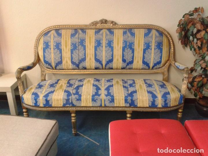 Antigüedades: Sofá antiguo estilo Luis XVI. Sofá antiguo vintage dorado estilo isabelino. Canapé Tresillo antiguo. - Foto 7 - 78382389