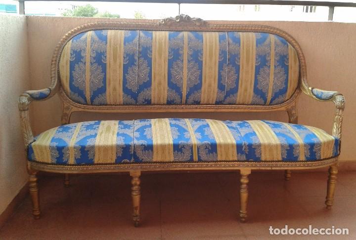 Antigüedades: Sofá antiguo estilo Luis XVI. Sofá antiguo vintage dorado estilo isabelino. Canapé Tresillo antiguo. - Foto 8 - 78382389