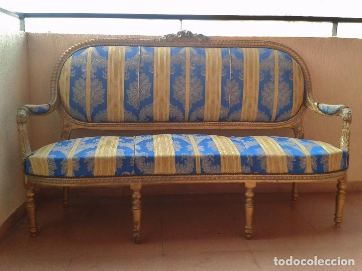Antigüedades: Sofá antiguo estilo Luis XVI. Sofá antiguo vintage dorado estilo isabelino. Canapé Tresillo antiguo. - Foto 9 - 78382389