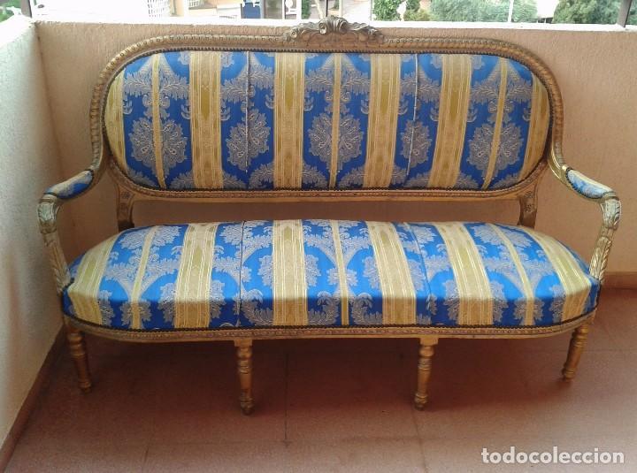 Antigüedades: Sofá antiguo estilo Luis XVI. Sofá antiguo vintage dorado estilo isabelino. Canapé Tresillo antiguo. - Foto 10 - 78382389