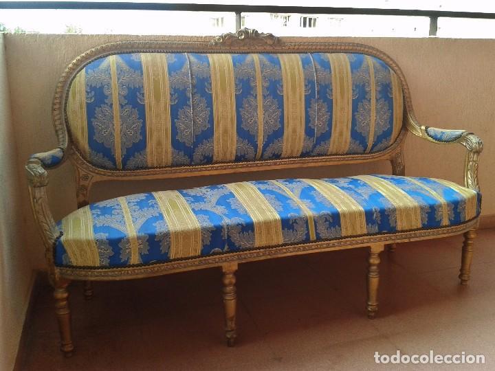 Antigüedades: Sofá antiguo estilo Luis XVI. Sofá antiguo vintage dorado estilo isabelino. Canapé Tresillo antiguo. - Foto 11 - 78382389