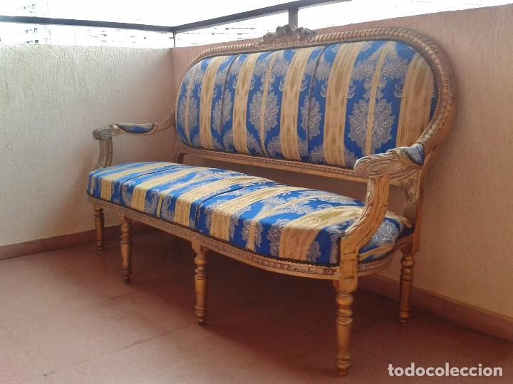 Antigüedades: Sofá antiguo estilo Luis XVI. Sofá antiguo vintage dorado estilo isabelino. Canapé Tresillo antiguo. - Foto 12 - 78382389