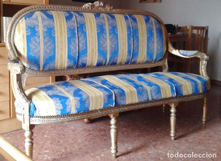 Antigüedades: Sofá antiguo estilo Luis XVI. Sofá antiguo vintage dorado estilo isabelino. Canapé Tresillo antiguo. - Foto 13 - 78382389