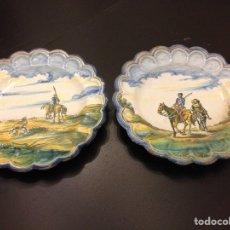 Antigüedades - Pareja de platos de Talavera. Saso. Don Quijote. Años 30/40 - 78445762