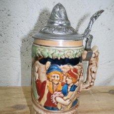 Antigüedades: ANTIGUA JARRA CERVEZA MUSICAL EN RELIEVE AÑOS 50 CERAMICA FUNCIONANDO VER FOTOS . Lote 78476473
