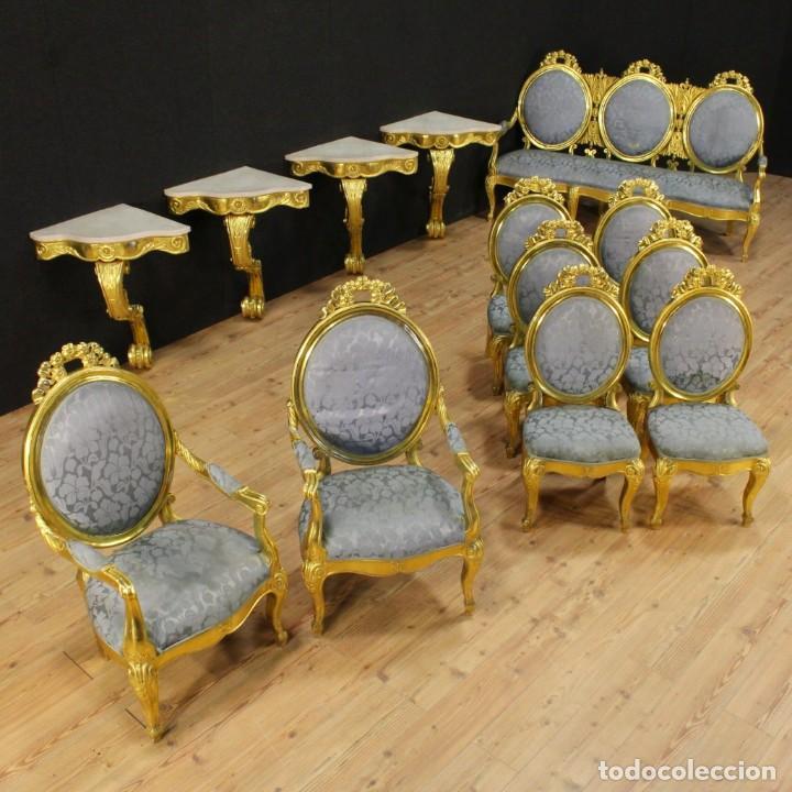 Antigüedades: Consola italiana de madera dorada con tapa de mármol - Foto 2 - 78596365