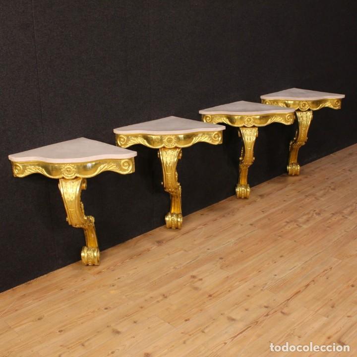 Antigüedades: Consola italiana de madera dorada con tapa de mármol - Foto 4 - 78596365