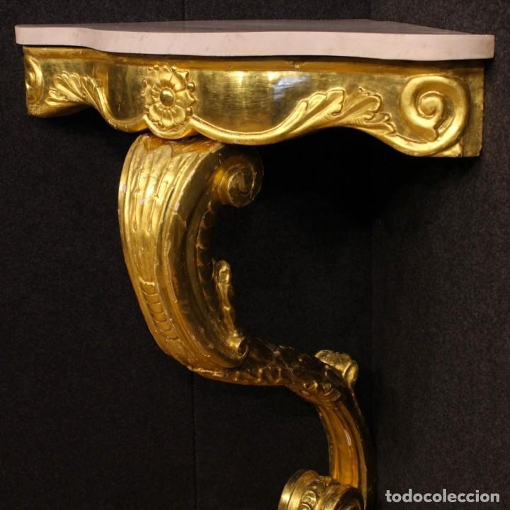 Antigüedades: Consola italiana de madera dorada con tapa de mármol - Foto 8 - 78596365
