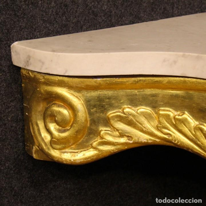 Antigüedades: Consola italiana de madera dorada con tapa de mármol - Foto 11 - 78596365
