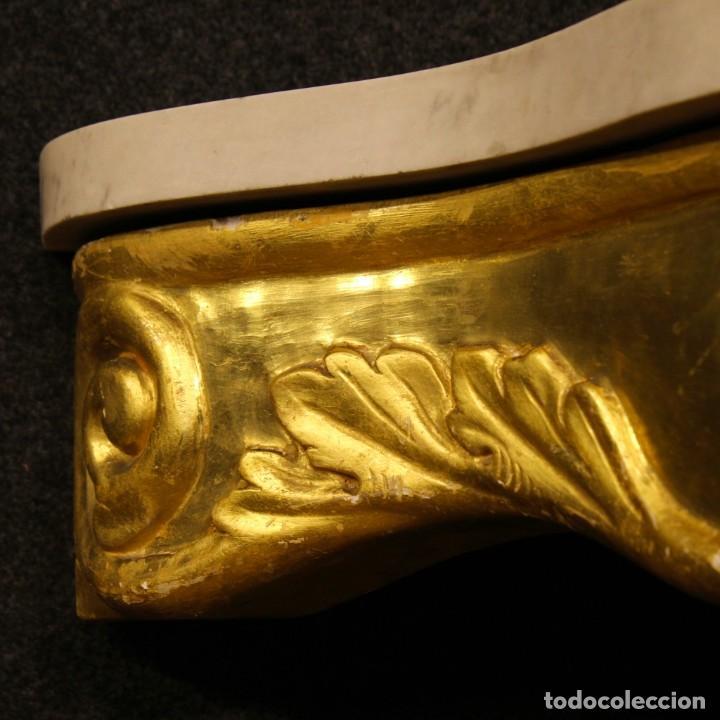Antigüedades: Consola italiana de madera dorada con tapa de mármol - Foto 13 - 78596365