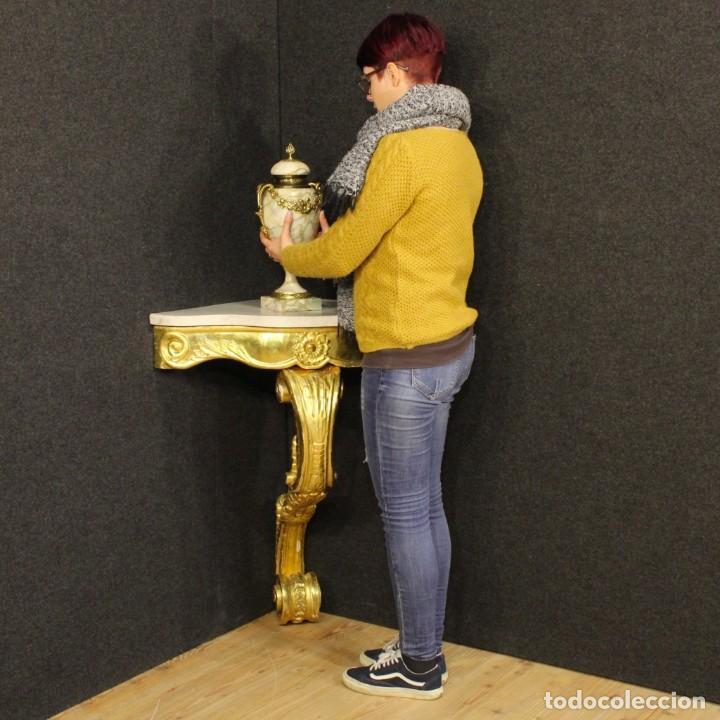 Antigüedades: Consola italiana de madera dorada con tapa de mármol - Foto 18 - 78596365