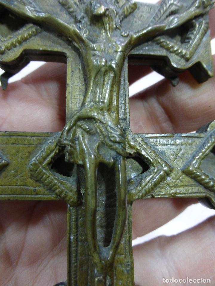 Antigüedades: ANTIGUA Y EXCEPCIONAL GRAN CRUZ DE CARAVACA-BRONCE-EXQUISITO CINCELADO-ORIGINAL S. XVII-XVIII - Foto 6 - 78653557