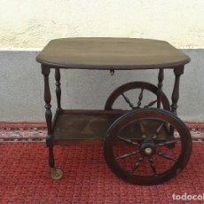 Antigüedades: CAMARERA DE MADERA ANTIGUA RETRO VINTAGE, CARRITO DE SERVIR CARRO MUEBLE BAR AUXILIAR ANTIGUO. Lote 78693933