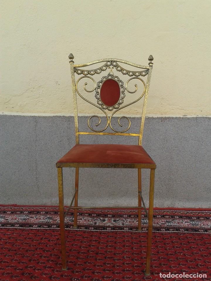 Antigüedades: silla antigua de metal estilo isabelino, silla metálica isabelina retro vintage, silla descalzadora - Foto 3 - 78695665