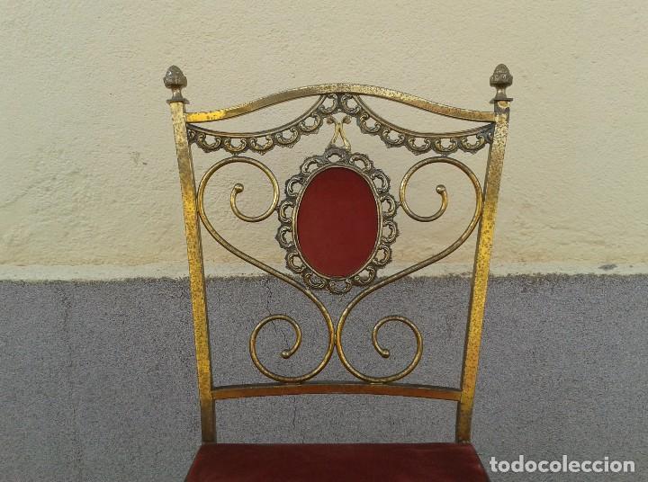 Antigüedades: silla antigua de metal estilo isabelino, silla metálica isabelina retro vintage, silla descalzadora - Foto 4 - 78695665