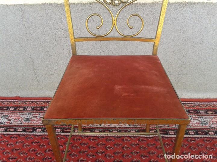 Antigüedades: silla antigua de metal estilo isabelino, silla metálica isabelina retro vintage, silla descalzadora - Foto 5 - 78695665