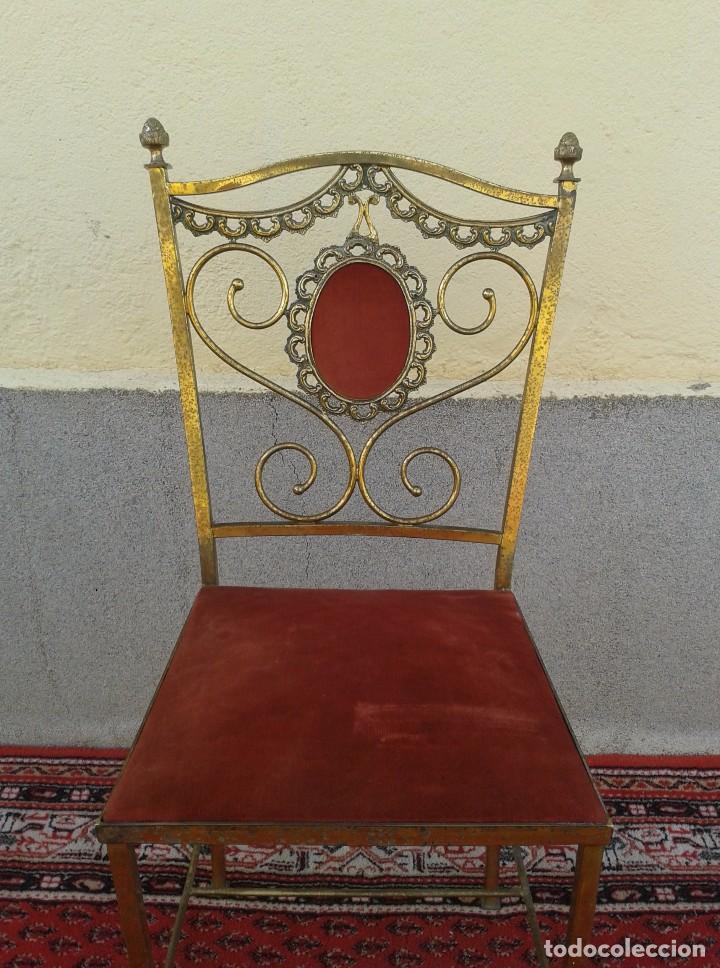 Antigüedades: silla antigua de metal estilo isabelino, silla metálica isabelina retro vintage, silla descalzadora - Foto 6 - 78695665