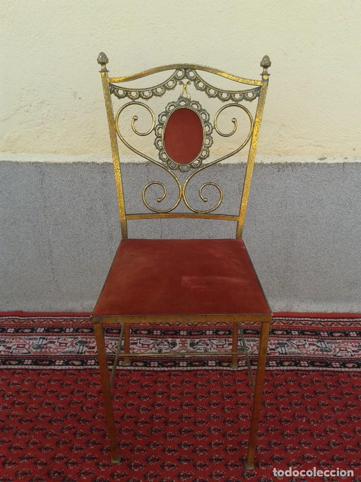 Antigüedades: silla antigua de metal estilo isabelino, silla metálica isabelina retro vintage, silla descalzadora - Foto 7 - 78695665
